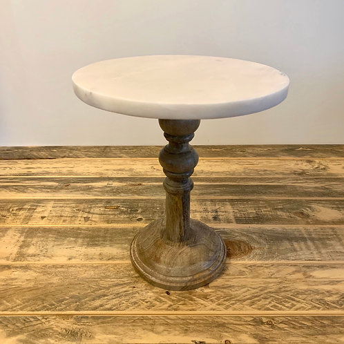 Wooden display stand with marble top small