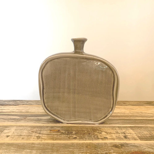 Grey textured flat bottle vase-Small