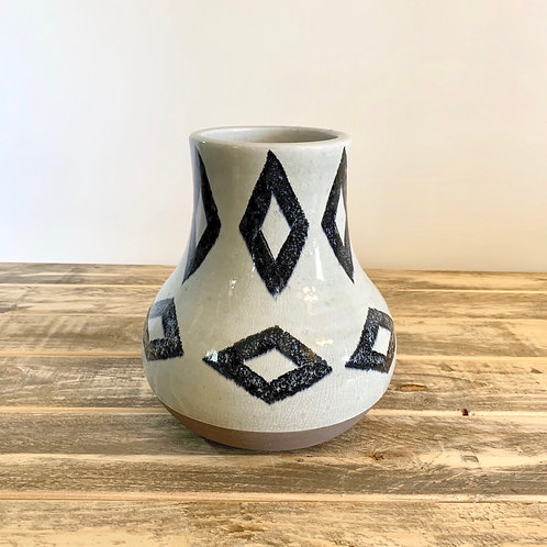 Navy/off white diamond vase-Small