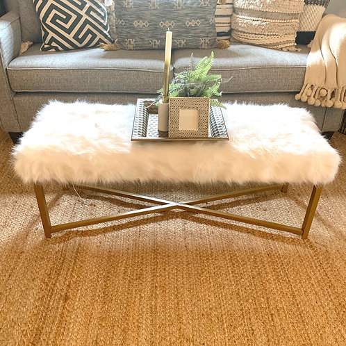 Gold furry bench