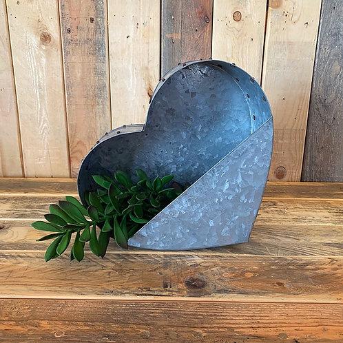 Galvanized heart wall planter