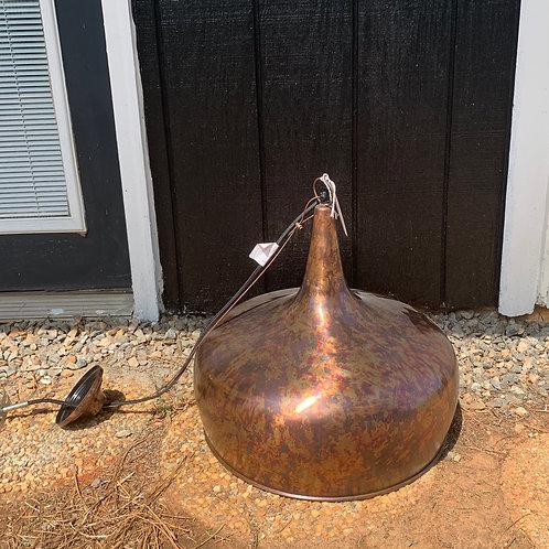 Tear drop brass pendant/ rust finish
