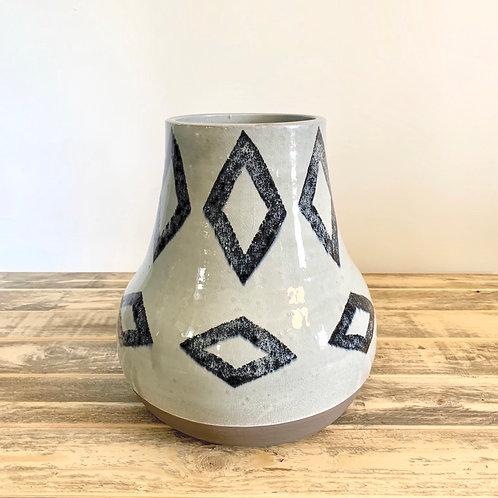 Navy/off white diamond vase-medium
