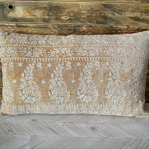 Cotton velvet lumbar pillow