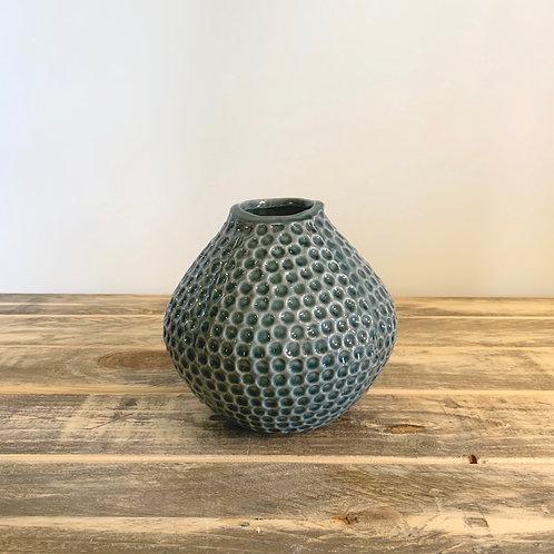 Stoneware teal vase
