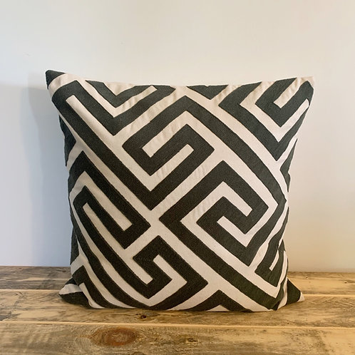Black and white cotton embroidered pillow