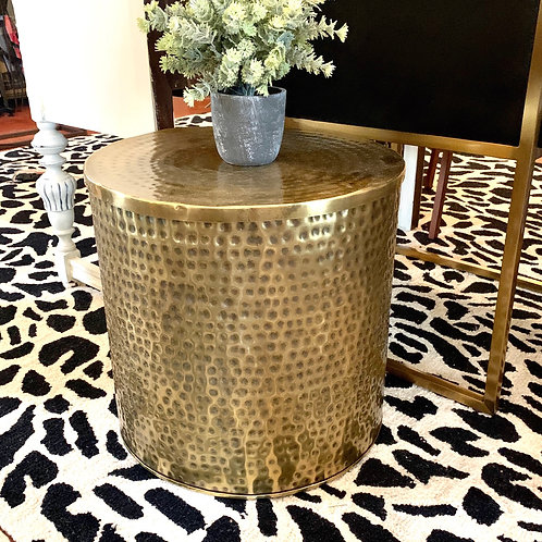 Gold hammered side table