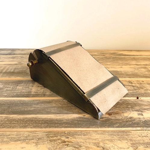 Desk top note roll in antique brass dispenser