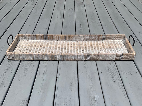 Rattan tray with metal handles