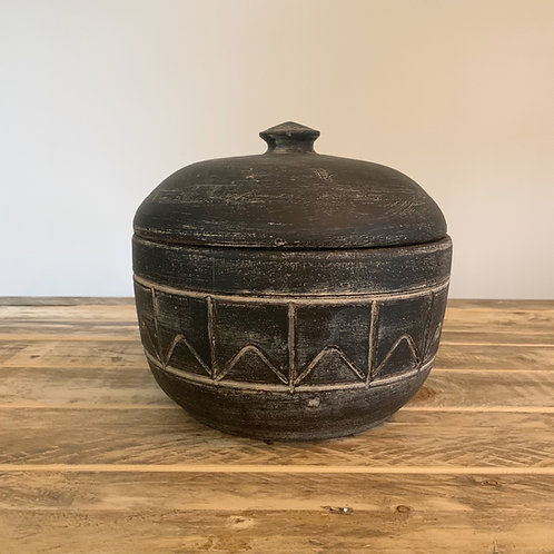Black white clay canister
