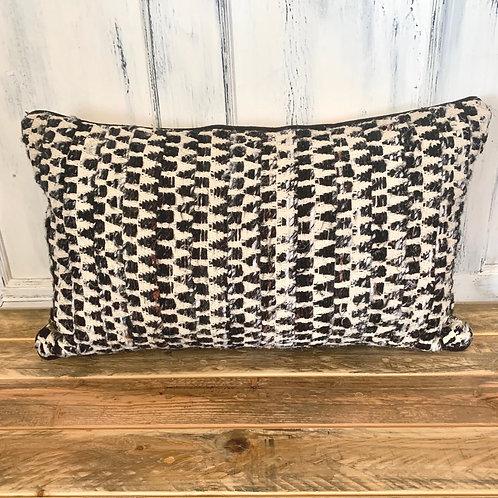 Grey/black geometric lumbar pillow