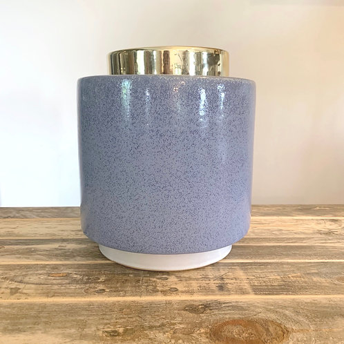 Blue stoneware jar w/gold finish lid-10in