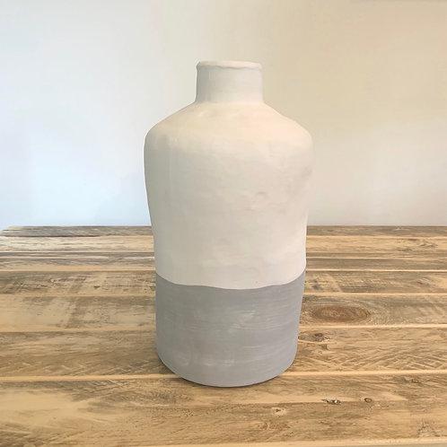 Matte grey and cream bottle vase