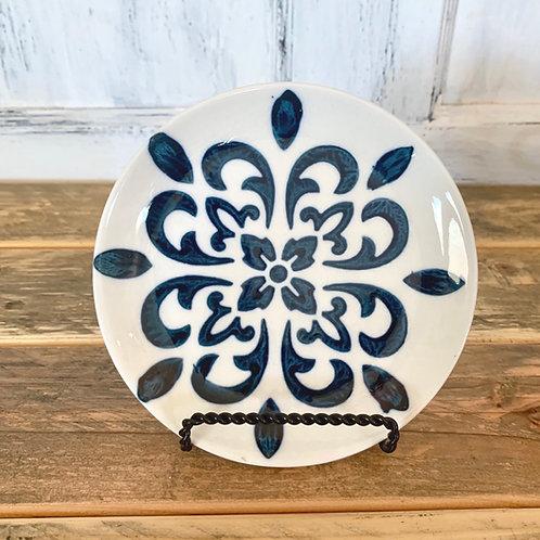Small blue stoneware plate