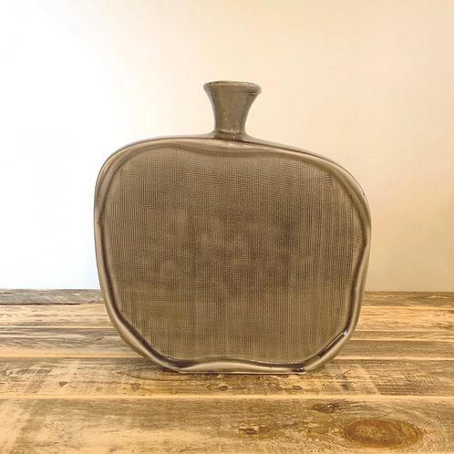 Grey textured flat bottle vase-Medium