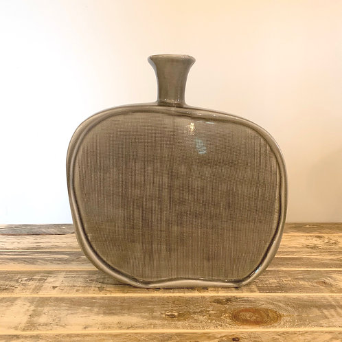 Grey textured flat bottle vase-Large