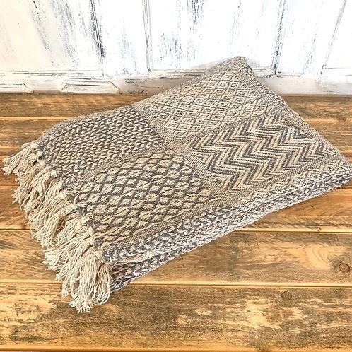Grey cotton knit throw