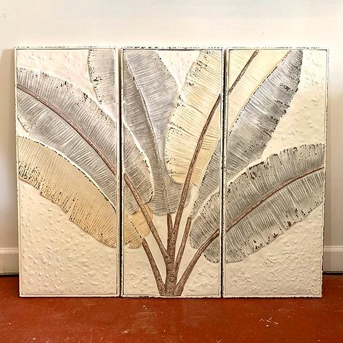 Set of 3 pressed tin banana leaves wall art