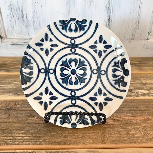Small blue/white stoneware plate