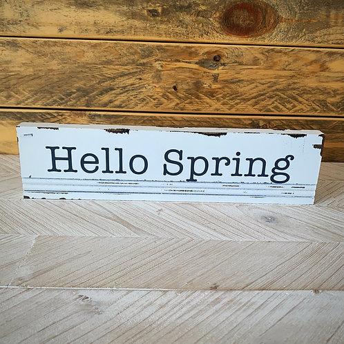 Hello spring block sign