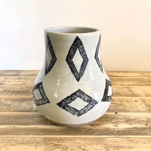 Navy/off white diamond vase-large