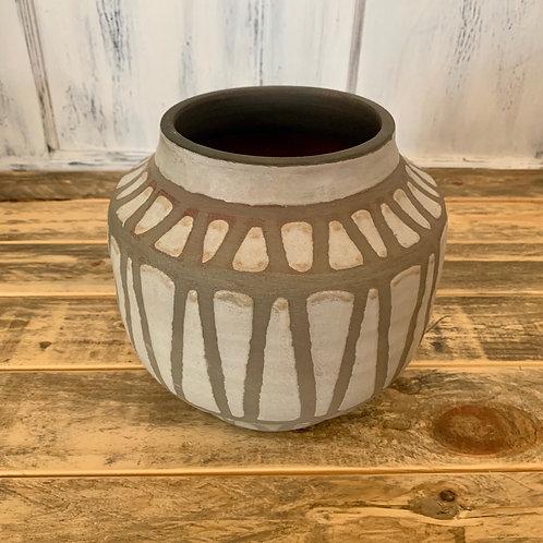 Round clay pot