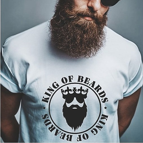 KING OF BEARDS - White - Grey - Crewneck T Shirt