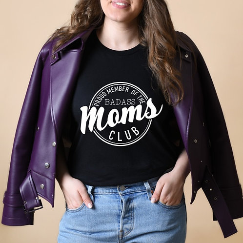 BADASS MOMS CLUB - Black - Unisex Crewneck T-Shirt