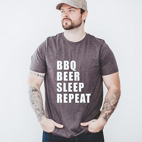 BEER BBQ SLEEP REPEAT - Grey - Crewneck T Shirt