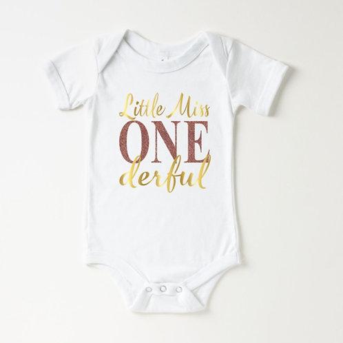 LITTLE MISS ONEDERFUL - Gold & Rose Gold Glitter - Infant Onesie