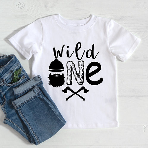 WILD ONE - Lumberjack Theme - White - Infant Onesie - Toddler T-Shirt