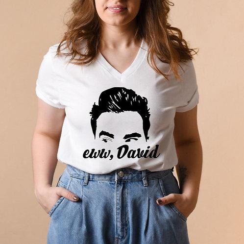 EWW DAVID - White - Unisex V-Neck T-Shirt