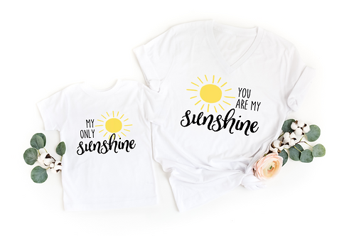 You Are My Sunshine - Mommy + Me - Adult V and Toddler Crew