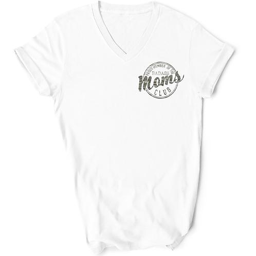 Badass Moms Club - *CAMO PRINT* - White V-Neck T-Shirt