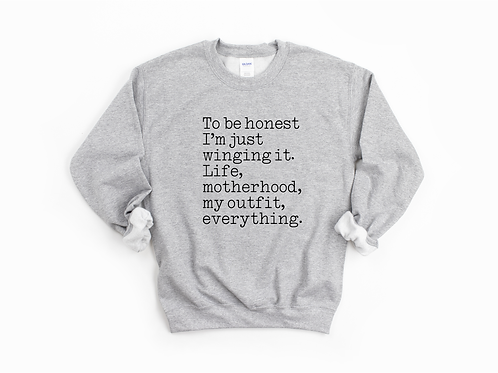 WINGING IT - Grey - Unisex Crewneck Sweatshirt