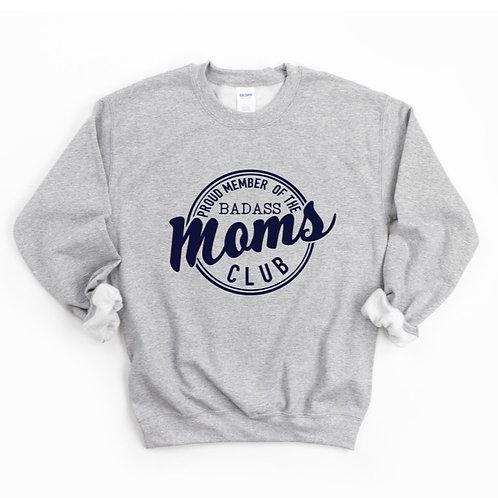 BADASS MOMS CLUB - Grey with Navy - Unisex Crewneck Sweatshirt