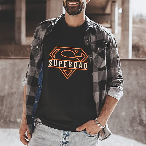 SUPERDAD - Red+Yellow on Black - Crewneck T Shirt