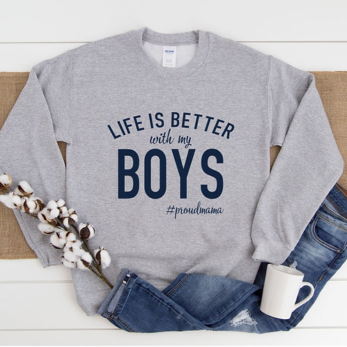 LIFE IS BETTER WITH MY -(Personalize) - Grey with Navy - Unisex Crewneck Sweater