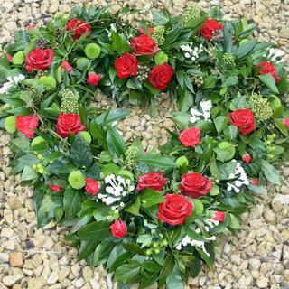 Red Rose heart shape wreath
