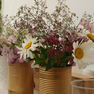 White Daisy and Pink Gypsophila table arrangements