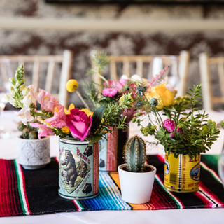 Cactus and Yellow/Pink Rose Table arrangements