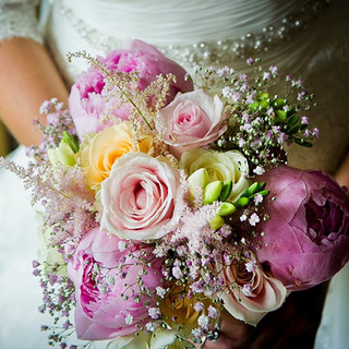 Pink Peony and Blush pink Rose bouquet