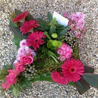 Modern pink tribute arrangement
