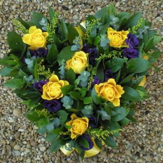 Yellow and Purple Heart Wreath