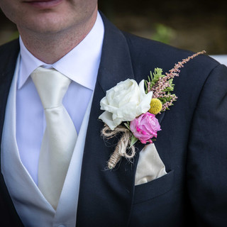White Rose and Heather buttonhole