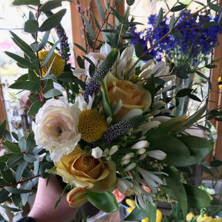 Hand tied bouquet yellow roses