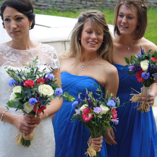 White Rose and Blue Corn Flower bouquets