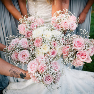 Bride and Bridesmaid White and Pink bouquets