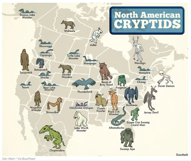 North American Cryptid Map