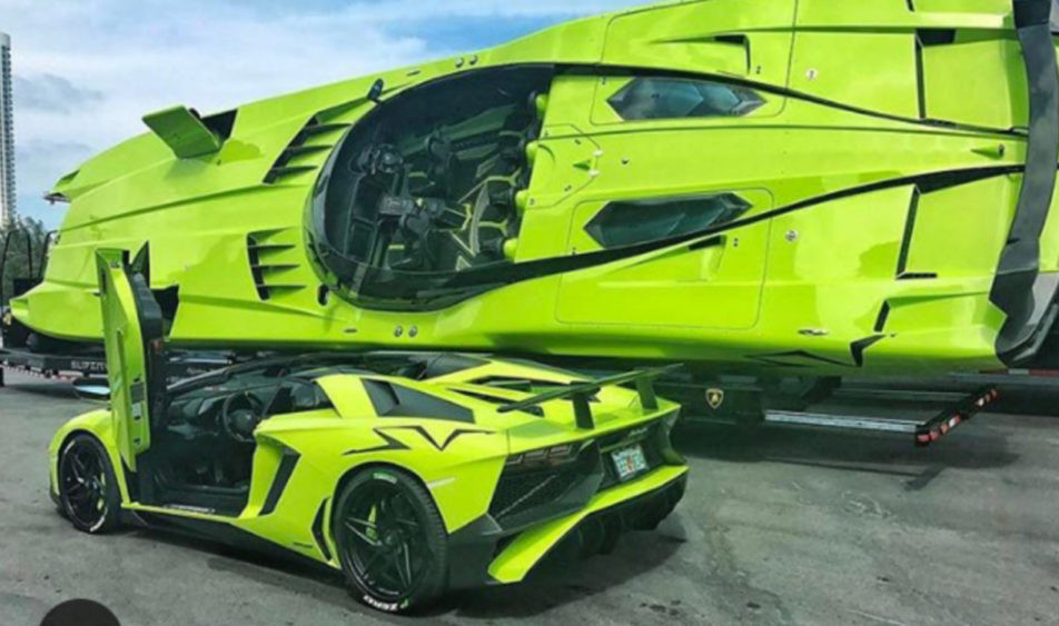 Lamborghini Aventador and Matching Speed Boat